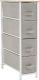 Komoda OFELIA TYP 2 s látkovými šuplíky světlešedá/bílá/béžová