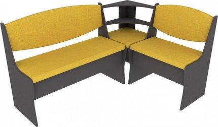 Rohová jídelní lavice PRIME šedý grafit/hořčicová