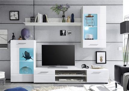 Obývací stěna, sestava HENRI NEW bílá/extra vysoký lesk HG