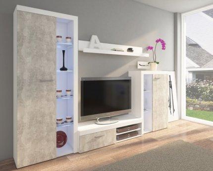 Obývací stěna, sestava RUMBA bílá/beton