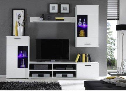Obývací stěna, sestava FRONTAL 1 s LED osvětlením, bílá/čiré sklo