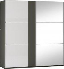 Šatní skříň SACRAMENTO 200, tunis s osvětlením, grafit/bílá lesk