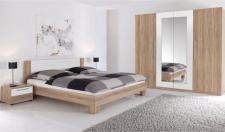 Ložnice MARTINA dub sonoma/bílá (skříň, postel 180, 2 noční stolky)