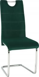 Pohupovací jídelní židle ABIRA NEW smaragdová Velvet látka/chrom