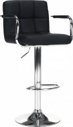 Barová židle LEORA 2 NEW, chrom/černá ekokůže