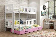 Patrová postel s přistýlkou Kuba bílá/růžová