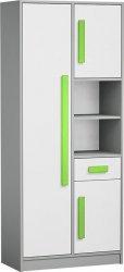 Skříň s regálem GYT 3 antracit/bílá/zelená