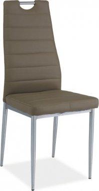 Jídelní židle H-260 tmavě béžová/chrom