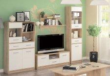 Obývací stěna, sestava TIPS dub sonoma/bílá mat