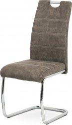 Pohupovací jídelní židle HC-483 BR3, hnědá látka COWBOY, bílé prošití/chrom