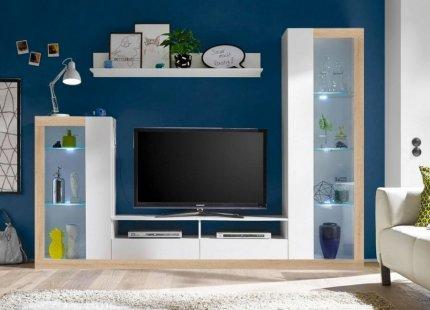 **Obývací stěna MALABA bílá/sonoma