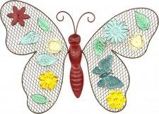 Nástěnná kovová dekorace HO4358 - barevný motýl