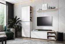 Obývací stěna OTTAWA sonoma/bílá lesk