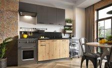 Kuchyňská linka CARLO 180 cm, šedá grafit/dub artisan
