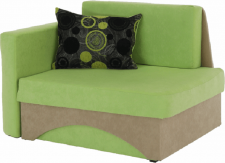 Rozkládací křeslo KUBOŠ, s úložným prostorem, levá, zelená/béžová