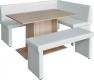 Rohová jídelní lavice MODERN pravá, ekokůže bílá