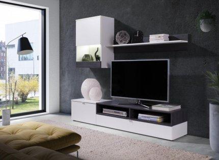 Obývací stena Robin bílá/sosna tmavá