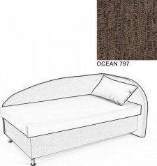 Čalouněná postel AVA NAVI, s úložným prostorem, 120x200, pravá, OCEAN 797