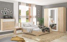 Ložnice MARKOS dub sonoma/bílá (postel 160, 2x NS, komoda 4S, skříň 4D)