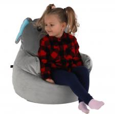 Dětský sedací vak BABY TYP 2, šedá látka, slon