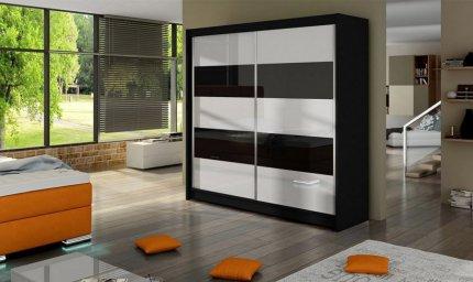 Šatní skříň FALLKO III černá/bílá