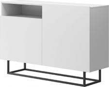 Komoda SPRING EK120, bílá/černý kov
