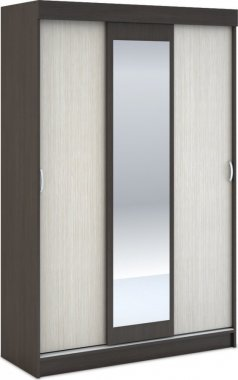 Šatní skříň posuvná BASIA 3D se zrcadlem belfort/wenge