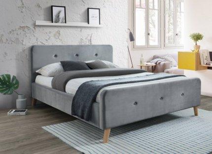 Čalouněná postel MALMO 160x200, VELVET šedá