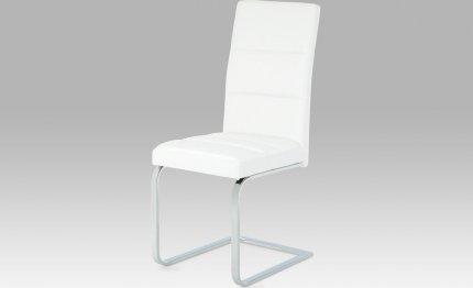 Jídelní židle koženka bílá / chrom B931N WT1