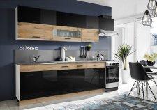 Kuchyňská linka KORAL 280 cm, wotan/černý lesk