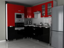Rohová kuchyňská linka Milenium MDR červený/černý lesk