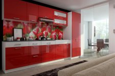 Kuchyňská linka Sanader 300 cm, červený lesk/bílý pruh