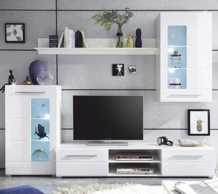 Obývací stěna, bílá extra vysoký lesk high gloss/bíla, HENRI