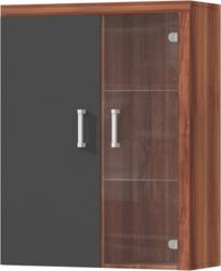 Závěsná vitrína CHERIS 4, švestka/šedý grafit