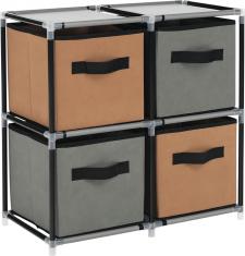 Komoda CAMILO TYP 1 s látkovými šuplíky černá /hnědá/šedá