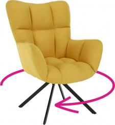 Designové otočné křeslo KOMODO, žlutá/černý kov
