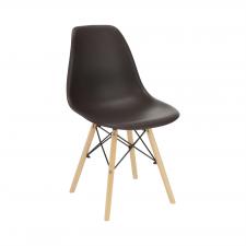Plastová jídelní židle CINKLA 3 NEW, tmavohnědá/buk