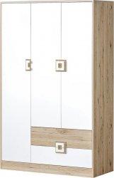 Šatní skříň 3-dveřová NIKO 3 dub jasný/bílá