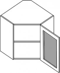 WR60WMR h. vitrína rohová PREMIUM de LUX olše mraž. sklo