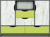 Dětská komoda DISNEY 2D4S, dub kraft bílý/šedý grafit/limeta