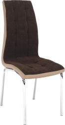 Jídelní židle GERDA NEW, hnědá/béžová/chrom
