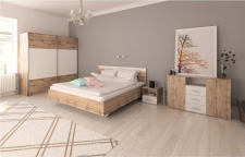 Ložnice GABRIELA dub wotan/bílá (postel 160)