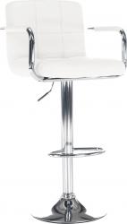 Barová židle LEORA 2 NEW, chrom/bílá ekokůže