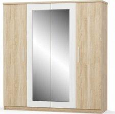 Šatní skříň MARKOS 4D dub sonoma/bílá/zrcadlo