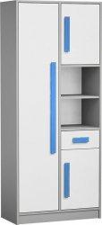 Skříň s regálem GYT 3 antracit/bílá/modrá