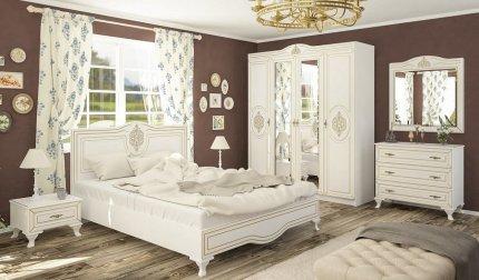 Ložnice MILAN bílý mat (postel 160, 2 noční stolky, komoda 3S)