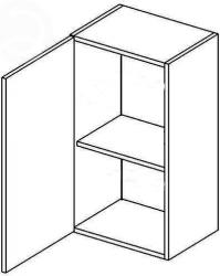 Horní kuchyňská skříňka MERLIN W40L 1-dveřová, bílá lesk