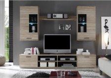 Obývací stěna, sestava FRONTAL 2 s LED osvětlením, dub sonoma/čiré sklo