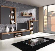 Obývací stěna Samir švestka/grafit