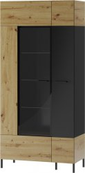 Vitrína LUCAS 12, 2-dveřová, dub artisan/černá mat